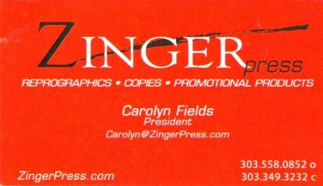 Zinger Press Business Card